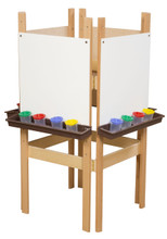 WD19125BN 4 Sided Easel with Markerboard & Brown Trays