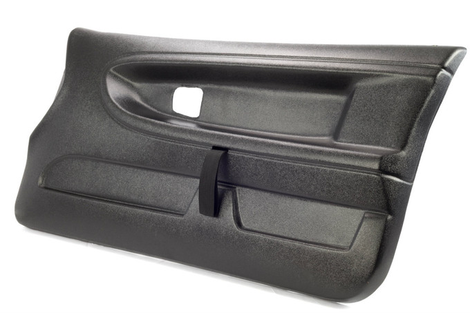 BMW E36 right side Door Panel with installed door pull strap and pre drilled mounting holes. Shown in textured finish.