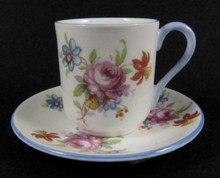 Miniature Shelley Cup and Saucer Pink Roses and Forget-me-nots