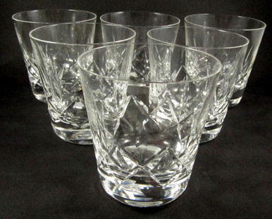 6 Large Vintage Stuart Crystal Carlingford Old Fashioned Whisky Whiskey Tumblers
