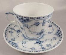 Pre 1923 Royal Copenhagen Blue Fluted Half Lace cup & saucer 1/719