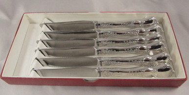 8 Rare Vintage Rodd Camille cutlery silver plate steak or grill knives boxed
