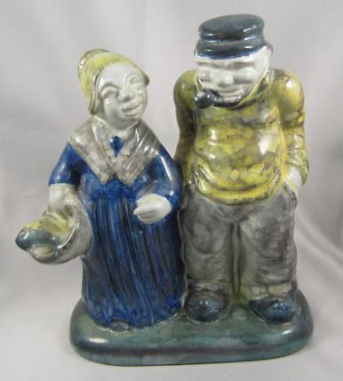 Vintage Danish Art Pottery Michael Andersen & Sons Fisherman & Wife Figurine