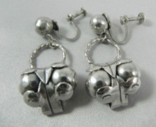 Art Deco Vintage Mexican Sterling Silver Spratling Cocos Design earrings pre 1948