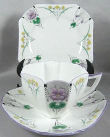 Art Deco Shelley Trio Pansies with lavender trim c.1930