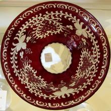 Vintage Bohemian Freidrich Egermann Red Crystal cut Bowl