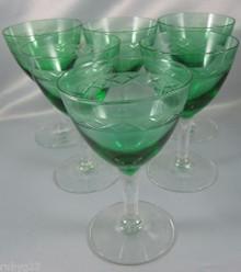 6 Vintage Holmegaard Egby white wine green glasses Jacob Bang c1940