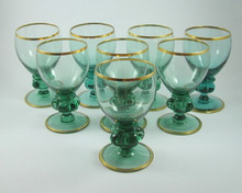 8 Vintage Holmegaard Gisselfeld White Wine Glasses in Green Glass