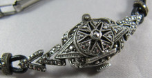 Art Deco Sterling Silver Marcasite Watch with cover Germany