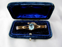 Antique Australian 9ct Gold Blue stone Brooch Victorian Jeweller's Association Hallmark