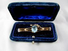 Antique Australian 9ct Gold Blue stone Brooch Victorian Jeweller's Association Hallmark