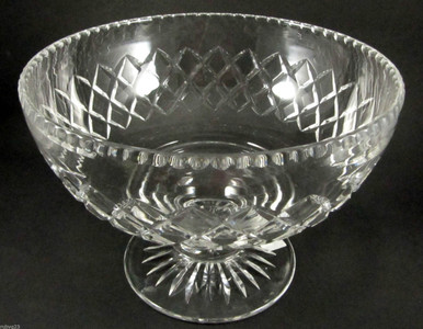 Vintage Stuart Crystal Diamond Cut Footed Fruit Bowl or Centre Piece
