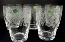 5 Vintage Stuart Crystal Grape & Vine 200ml barrel tumblers or glasses