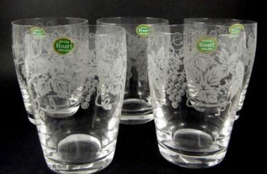 5 Vintage Stuart Crystal Grape & Vine 200ml barrel tumblers or glasses