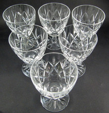 6 Vintage Webb Corbett Crystal Clifton diamond cut 120ml dessert wine glasses