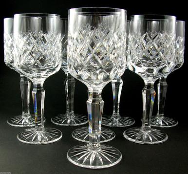 8 Danish Lyngby Diamond Cut Lead Crystal Westminster White Wine Glasses