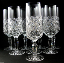 8 Danish Lyngby Diamond Cut Lead Crystal Westminster Champagne Flutes Glasses