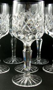 6 Danish Lyngby Diamond Cut Lead Crystal Westminster White Wine Glasses