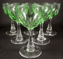 6 Danish Holmegaard Derby green uranium glass white or dessert wine glasses