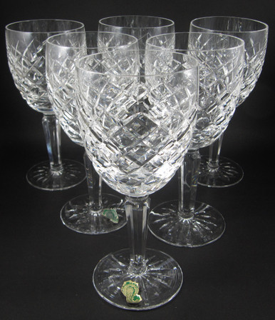 6 Vintage Waterford Crystal Comeragh water goblets wine glasses