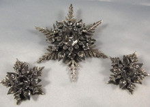 Vintage Arcansas Australian Grey Topaz Rhinestone Brooch & Earrings by Elizabeth Reimer