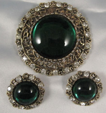 Vintage Arcansas Australian Emerald Rhinestone Brooch & Earrings by Elizabeth Reimer