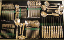 12 Person Vintage Danish Silver Plate Cutlery Set City ABSA 1930-1950.
