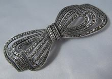 Large Vintage Australian Lega Sterling Silver Marcasite Bow Brooch