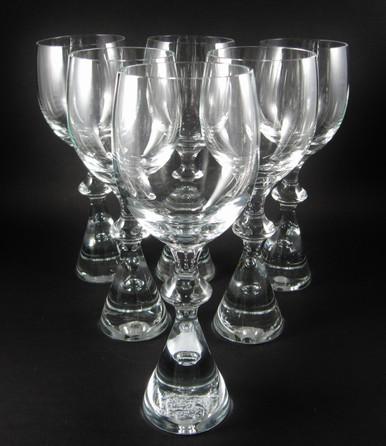 6 Vintage Holmegaard Prince White Wine Glasses Bent Severin 1960's