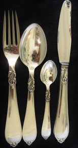 6 Person Art Deco Danish Silver Plate Cutlery Set Hertha 24 pieces