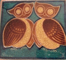 Vintage Danish owl wall plaque J Simon for Soholm, Bornholm.