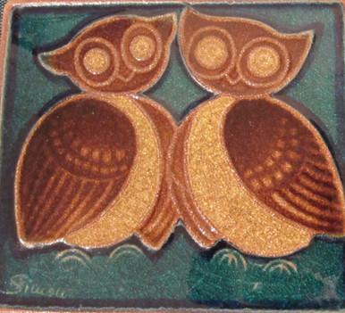 Vintage Danish owl wall plaque J Simon for Soholm, Bornholm.