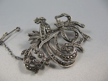 Art Deco Vintage Solid Silver Marcasite Bird & Bow Brooch