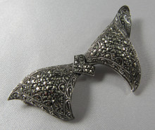 Large Art Deco Vintage Sterling Silver Marcasite Bow Brooch Germany