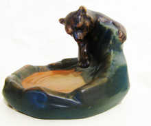 Art Deco Vintage Danish Art Pottery Ipsens Brown Bear Fishing bowl