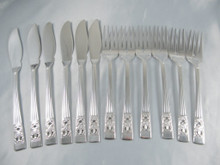 Vintage Hampton Court / Coronation Oneida Community Silver Plate Fish set 12