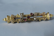 Antique Australian 9ct Gold Seed pearl & Red Stone Brooch T Willis Melbourne c1900