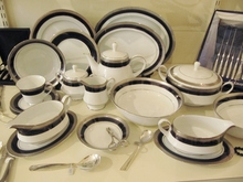 Noritake Crestwood Cobalt Platinum 12 person dinner set + serving pieces