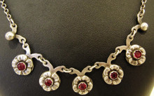 Vintage Danish Sterling Silver & Garnet Necklace Hermann Siersbol Denmark
