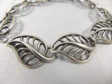 Rare Vintage Danish Just Andersen Sterling Silver leaf bracelet
