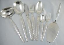 6 Person Vintage Mid Century Danish DANA Silver Plate Harlekin Cutlery Set