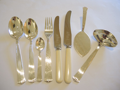 Vintage Danish Silver Plate cutlery flatware set Diplomat S. Chr Fogh 6 person & Vintage S Chr Fogh Diplomat Danish Cutlery for 6-In Stock