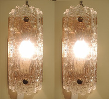 Vintage Pair of Swedish Orrefors Carl Fagerlund 'Geffion' Wall Sconces