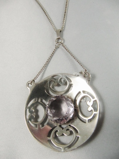 Vintage Sterling Silver Celtic Necklace with Amethyst
