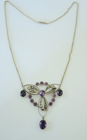 Antique Australian 9ct Gold Amethyst & Seed Pearl Necklace - Rare J Lawrence Melbourne.