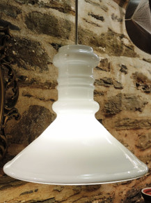 Vintage Holmegaard Apoteker 350mm white glass pendant Danish Design