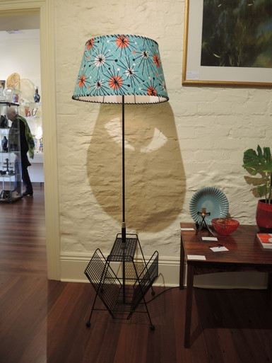Vintage Mid Century Floor Lamp with Magazine Rack and Bespoke Shade