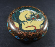 Antique Cloisonne lidded pot with dragon motif & Gold Stone inclusions
