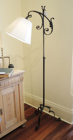 Antique Ornate Black Metal Floor Lamp with shade