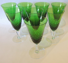8 Vintage Art Deco cut crystal green white wine glasses
